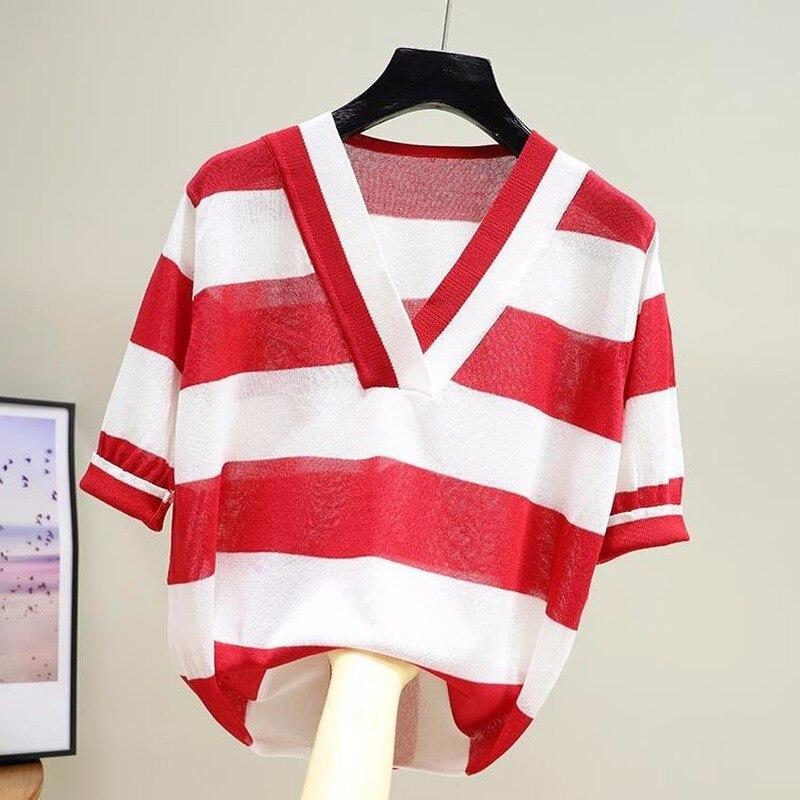 V-pescoço manga curta-Wide-listrado de Seda Gelo Camisola Feminina Elegante Simples Seção Fina Pullover Solta Camisola Das Mulheres Primavera Verão