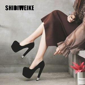 2021 fashion Suede High heel pumps platform casual black women Sexy high quality dance party design pumps size 34-39 va234