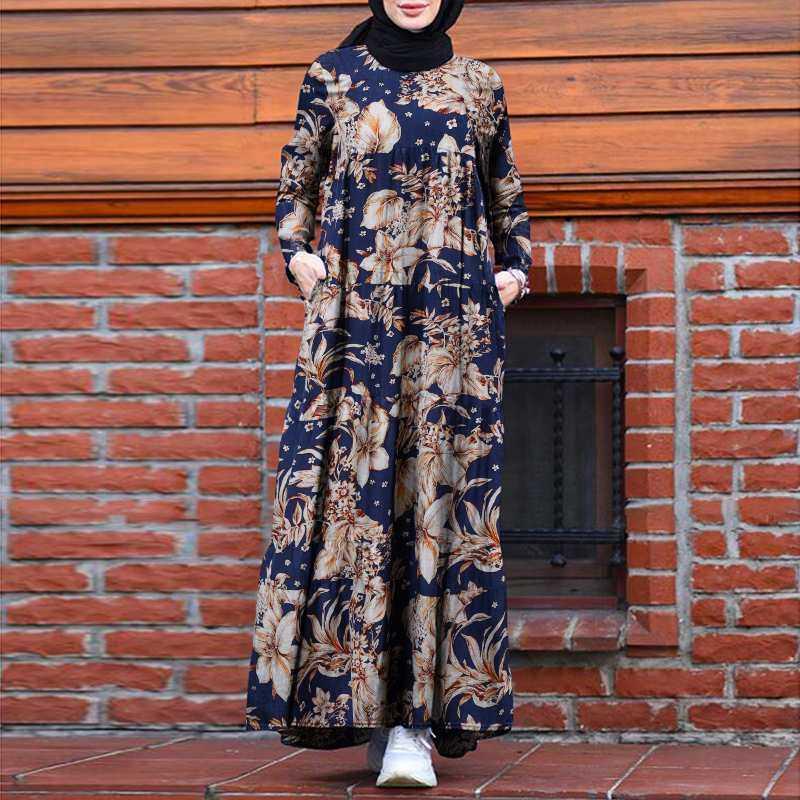 Vintage floral women printed hijab dress zanzea autumn long sleeve summer retro