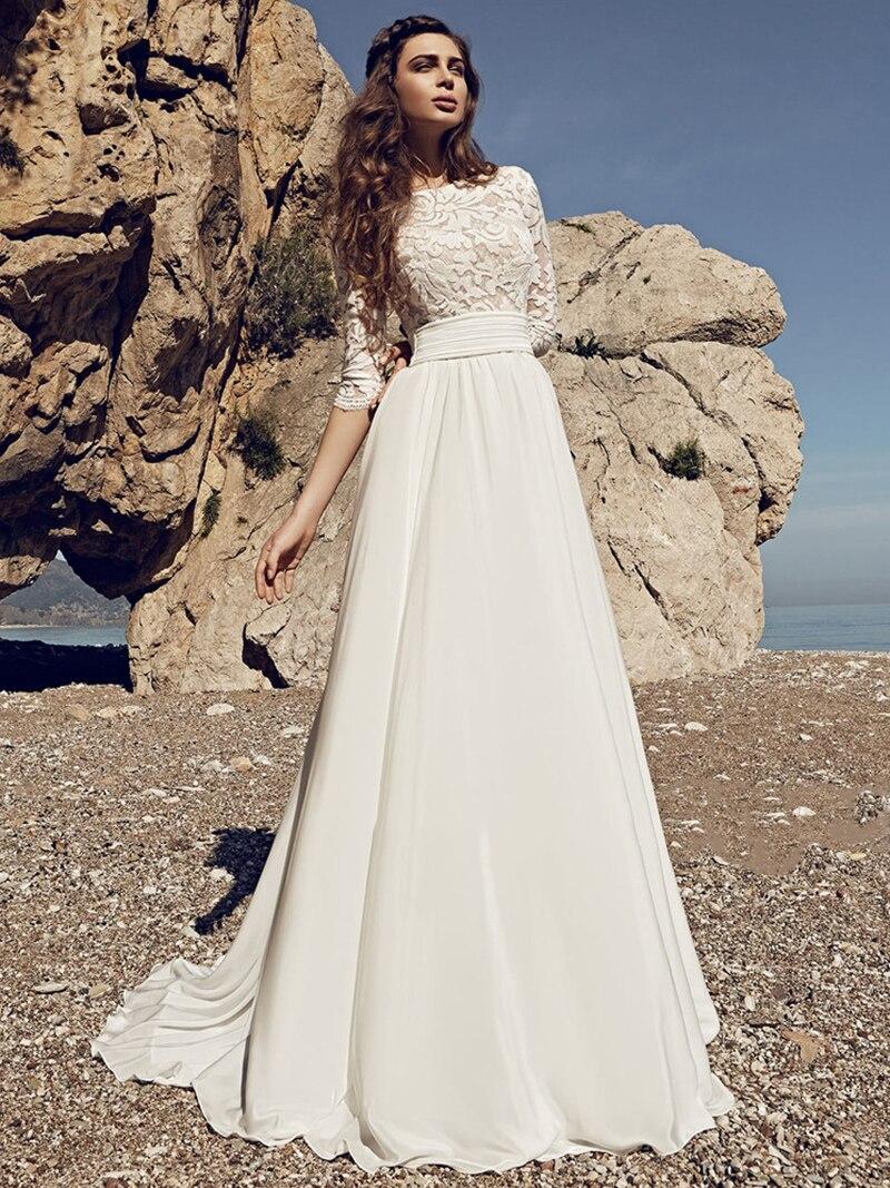 a-line-bohemian-beach-chiffon-lace-wedding-dress-2021-bateau-seaside-three-quarters-sleeves-open-back-pleated-cheap-bridal-gowns