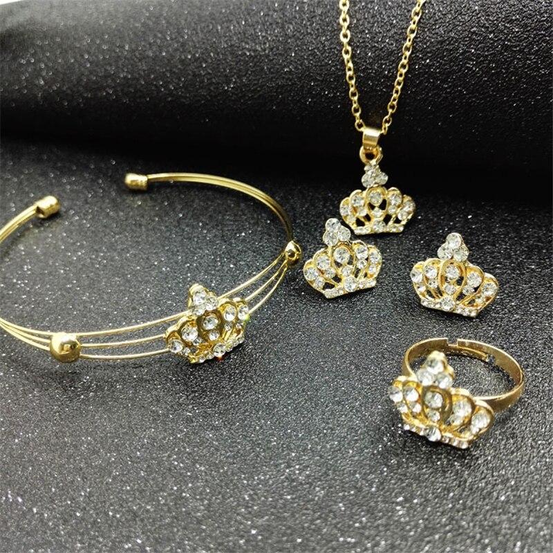 Collar de corona fina de 4 piezas, joyería de mujer, anillos de oro para mujer, boda, Rinfs, pulsera de lujo, pendientes de cristal a la moda, collar