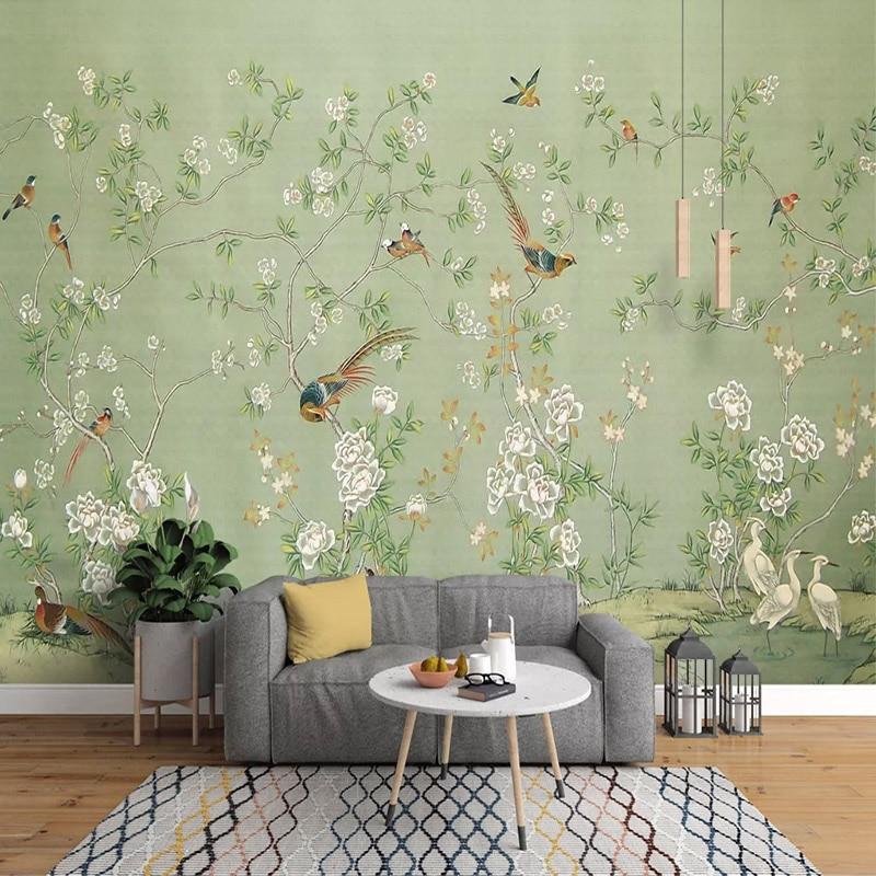Papel tapiz de foto personalizado 3D no tejido pintado a mano pintura al óleo Pastoral flor pájaro pared Mural fondos para sala de estar dormitorio