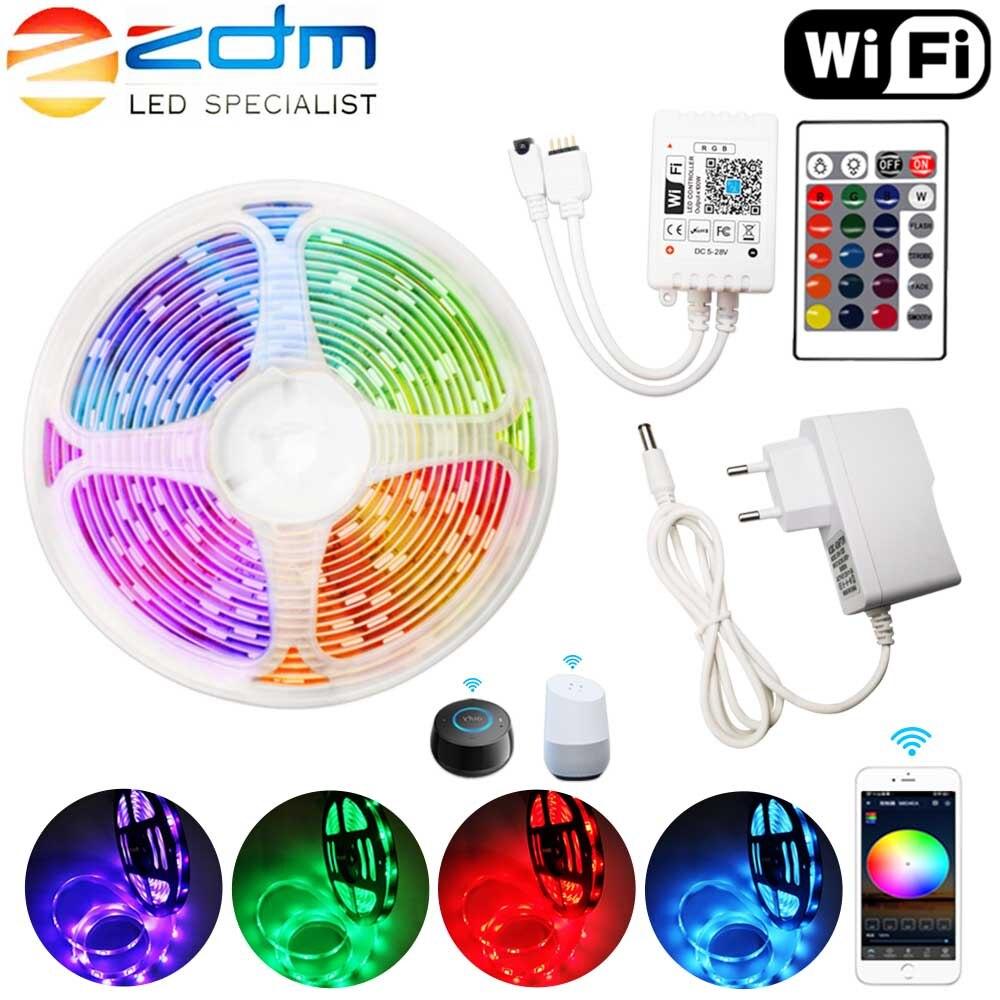 Светодиодная лента RGB, WiFi, 15 м, светодиодный светильник SMD 2835, 5 м, 10 м, DC 12 В, водонепроницаемая светодиодная лента RGB, светильник, Диодная лента,...