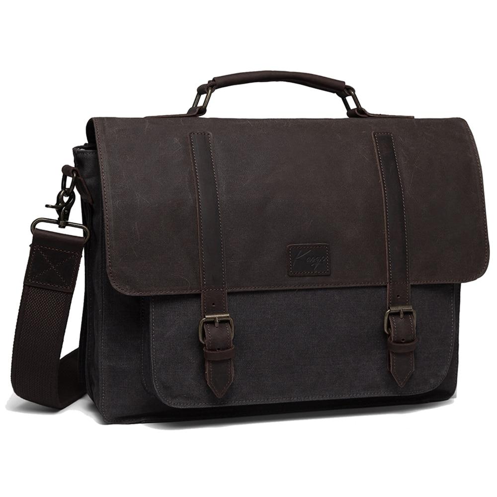 Messenger Bag for Men Vintage Water Resistant Briefcase Waxed Canvas Shoulder Bag for 15.6 Inch Laptop Bag for Men Women
