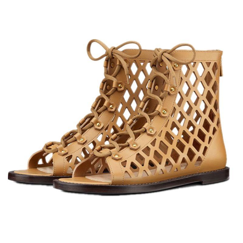 2021 جديد المسامير الدانتيل يصل جلد طبيعي الجوف خارج الصيف الجوارب امرأة صندل مسطح عادي مثير اللمحة تو حذاء من الجلد الأحذية
