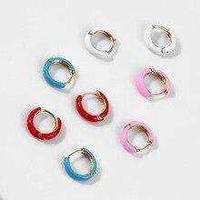 Boucles doreilles en émail coloré pour femmes, 1 paire, Mini boucles doreilles en néon, ronds, bijoux Aretes, Dainty Huggie, blanc, rose, rouge