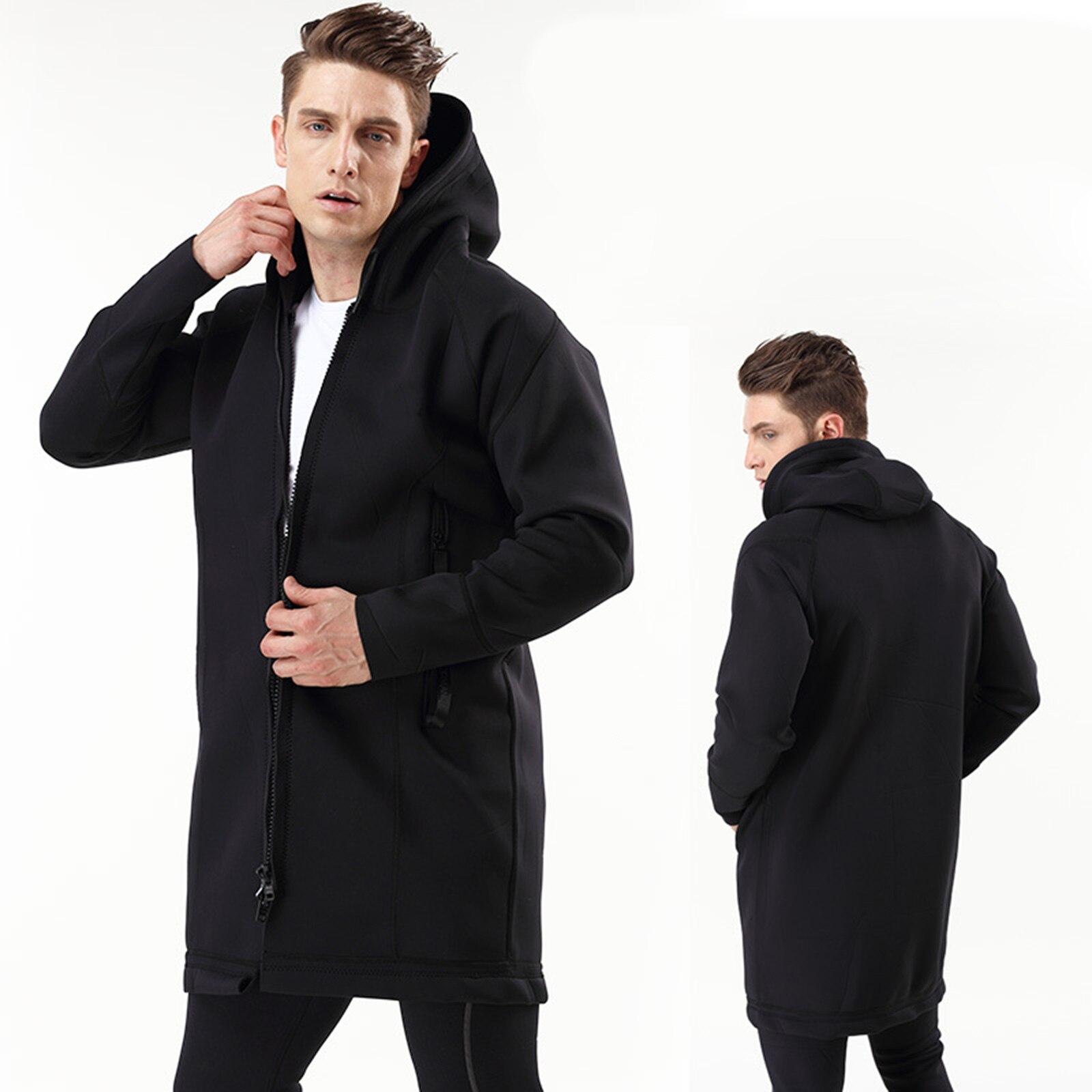 الرجال سترة المطر يندبروف مقنعين معطف طويل معطف واق من المطر تصفح جيب المعطف