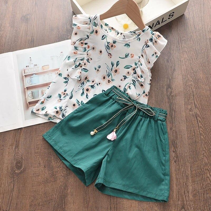 Bebê menina verão roupas de manga curta impresso flowear terno crianças moda voar manga floral topo + solto shorts cor sólida