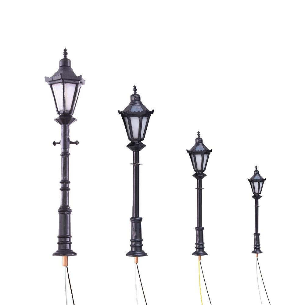 10PCS LED Street Light Lamppost 1/75-200 Scale model outdoor light 3v for Model Park Scenery Decorations