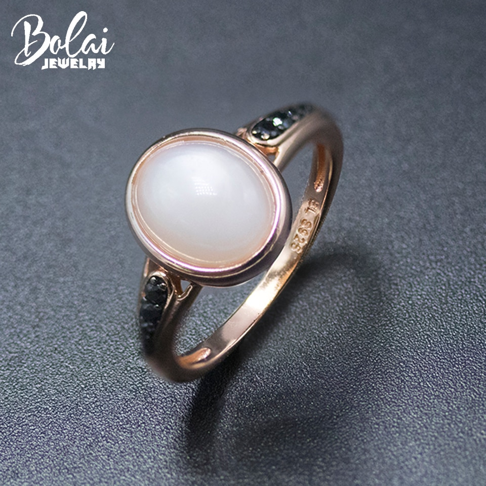 Bolai 100% Natural Moonstone Ring 925 Sterling Silver Rose Gold Plated 10*8mm Gemstone Fine Jewelry for Women Girlfriend Gift