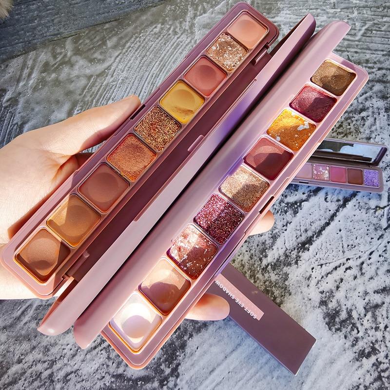 Han ru teclado ponta de dedo sombra polarizada sequin perolado sombra seca rosa nove paleta maquiagem conjunto