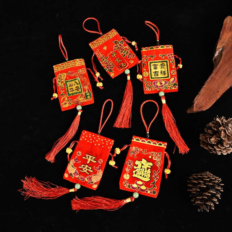 New Year Gift Red Envelope Hanging Bag Spring Festival Supplies Chinese Knot Ornaments Tassel Gift L