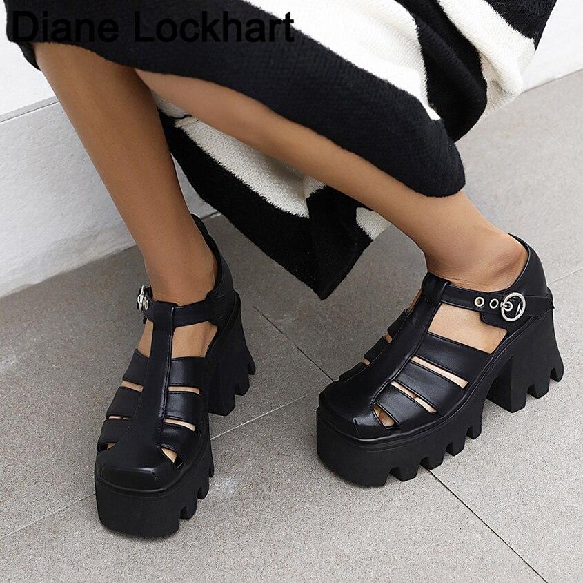 Retro Rome Women Platform Sandals Woman Gladiator Heels Casual Beach Shoes Female Hollow Shoe Women'
