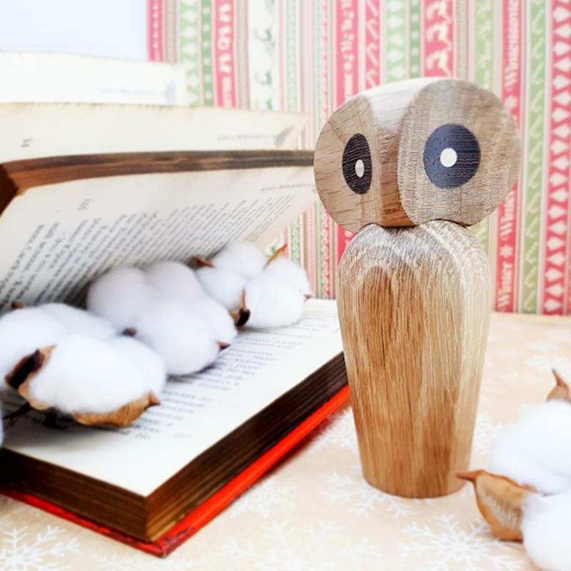 Lovely Fashion Owl Bird Animal Figurines Decor Home Living Room Bookshelf Natural Miniature Woodcraft is Popular Cute Kid Gifts