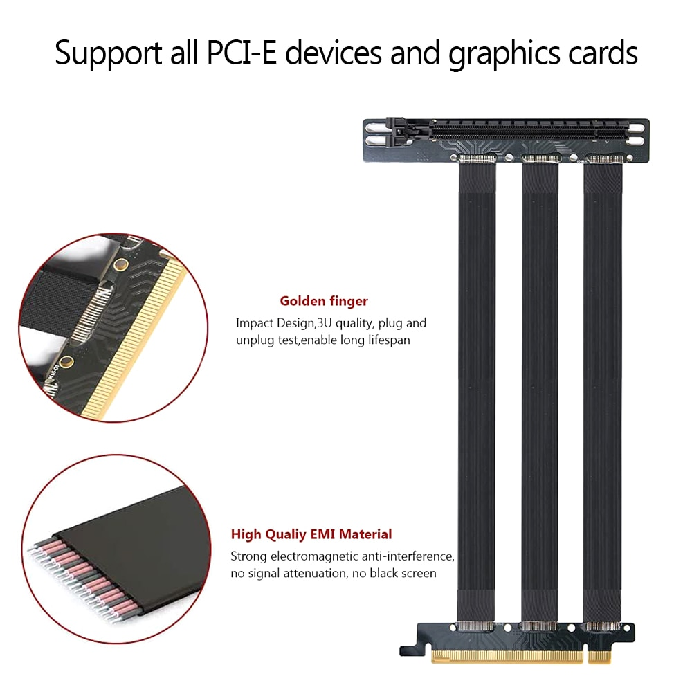 PCI Express Riser بطاقة PCI-E 4.0x16 حامل ممدد الكارت الشريط مرنة تمديد كابل للكمبيوتر بطاقات الرسم