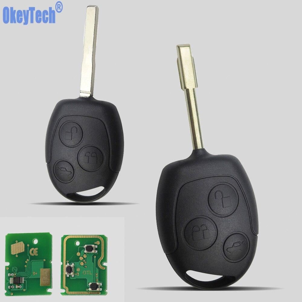 OkeyTech 3 кнопки авто Замена дистанционного ключа Fob 433 МГц 4D60 чип для Ford Mondeo Focus Transit полный ключ автомобиля Remotkey