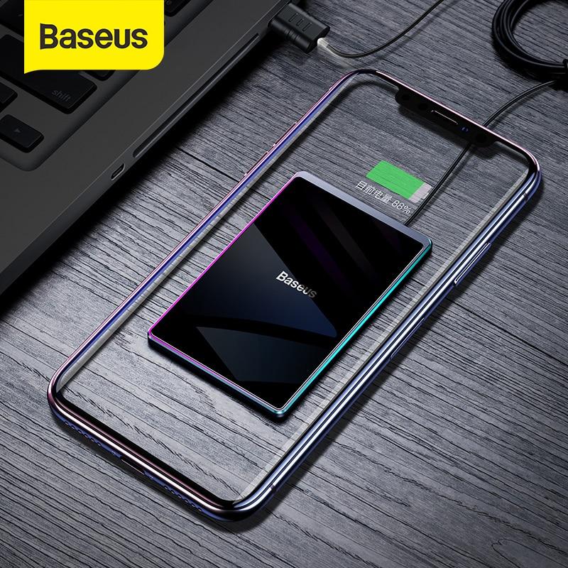 Baseus-شاحن لاسلكي فائق النحافة ، محمول ، شحن لاسلكي سريع ، لوحة لهاتف iPhone Xs Max XR 8 ، Huawei Mate 20 Pro P30 Pro ، 15W