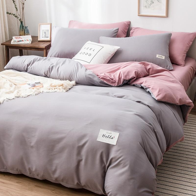 4Pcs Nordic Bedding Set , Duvet Cover + Pillow Case + Bed Sheet Home Textiles Bed Sheets Set Washed Cotton A/B Side Qulit Sheet