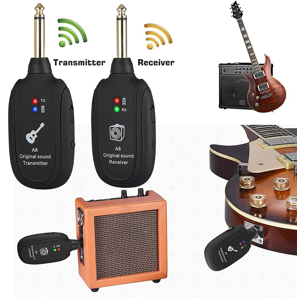 Guitar Wireless System Transmitter Receiver Built-In Rechargeable Wireless Guitar Transmitter Guitar Transmitter Accessory enlarge