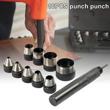 10 Pcs DIY Leathercraft Puncher Large Interchangable Heavy Duty Hollow Hole Punch Set For Belt Clothes Watch Band Punch Kit Tool