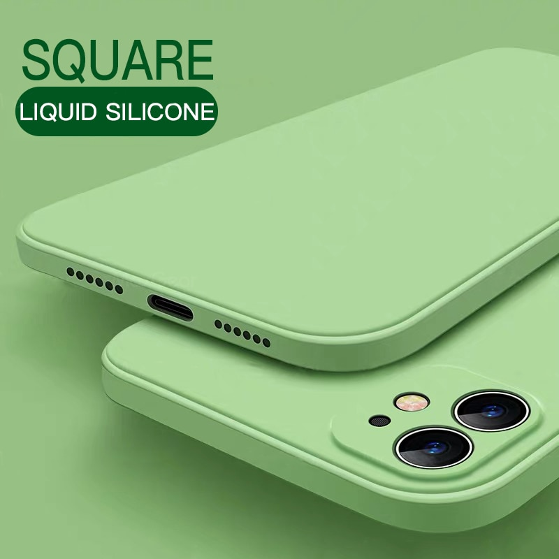 50pcs/lot For Iphone 11 Pro Max Square Liquid Silicone Case For Iphone X Xs Xr 7 8 6 6s Plus Se 2020 Cover 12 Protector Cases