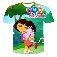 dora explorer childrens cartoon t shirt fashionable cute 3d printing boy clothes 2021