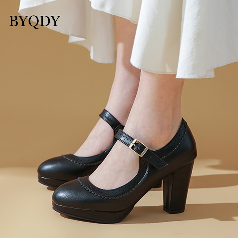 Zapatos de tacón alto BYQDY de primavera para mujer, zapatos de tacón de plataforma con hebilla de zapatos Mary Jane, zapatos de tacón para fiesta para mujer, zapatos europeos Plus 48