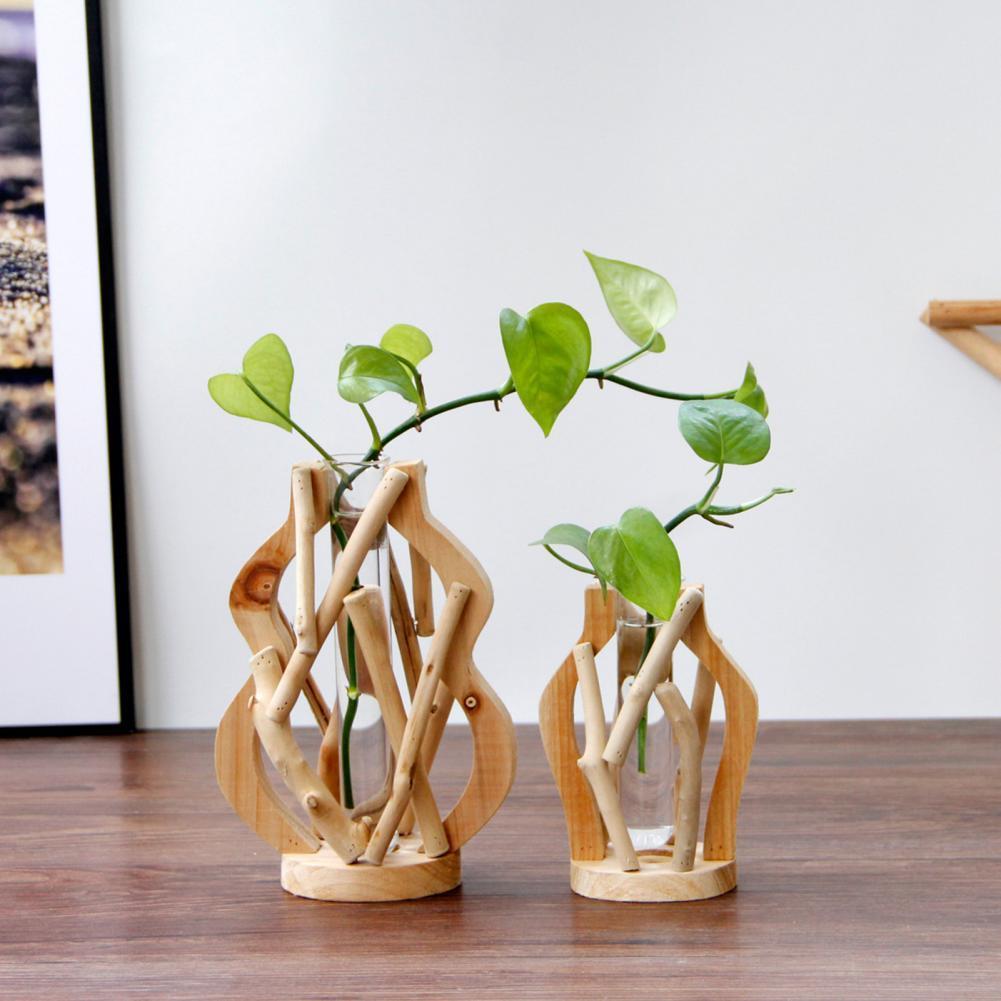 50%HOTTerrarium Planter Hydroponic Test Tube Bottle Vintage Wood Frame Clear Glass Test Tube Vase for Living Room