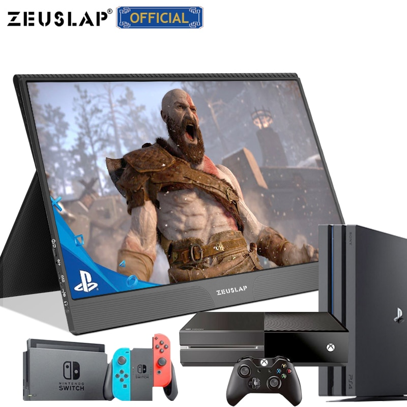 ZEUSLAP 15.6inch 1080P FHD IPS USB Type C HDMI-Compatible Gaming Portable Monitor for SWITCH PS4 Macbook Pro Samsung S21 Note 10