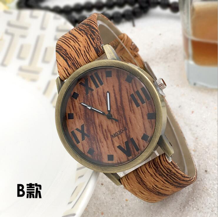 Fashion Casual Women Wood Watches Simulation Wooden Bamboo Watchband Quartz Watches Ladies Watches D