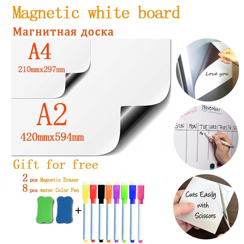 Adhesivos blandos para nevera tamaño A4 + A2 pizarra magnética para niños escuela goma de borrar seca Memo presentación dibujo tablón de anuncios