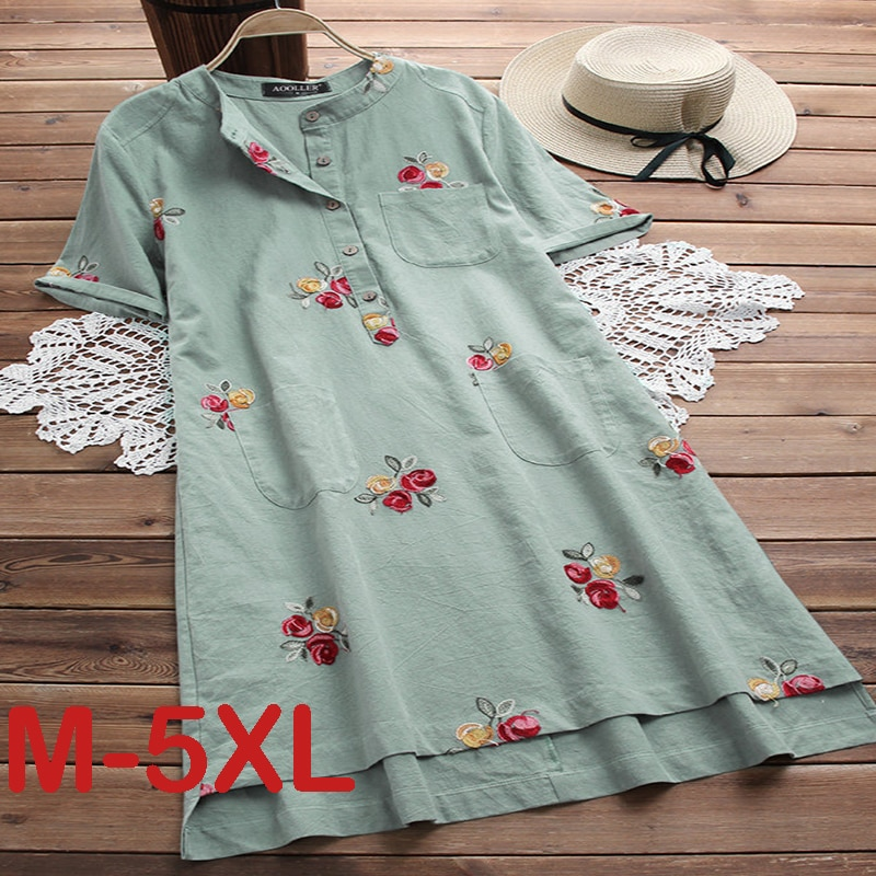 Big Size 5XL Summer Women  Dress Embroidery Casual Fashion Loose Solid Plus size Female Clothing