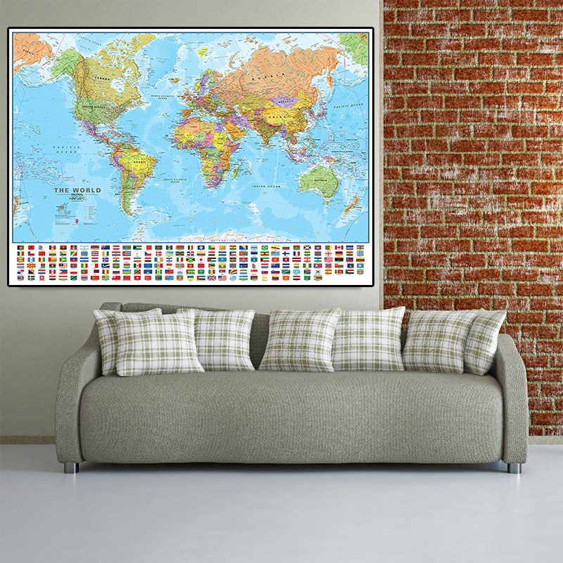 225*150cm The World Political Map Non-woven Poster Canvas Painting with Flags Home Decoration School Supplies Culture Education