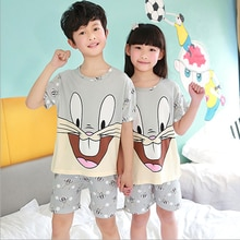 2021 Children Pajamas Set Kids Baby Girl Boys Cartoon Casual Clothing Costume Short Sleeve Children