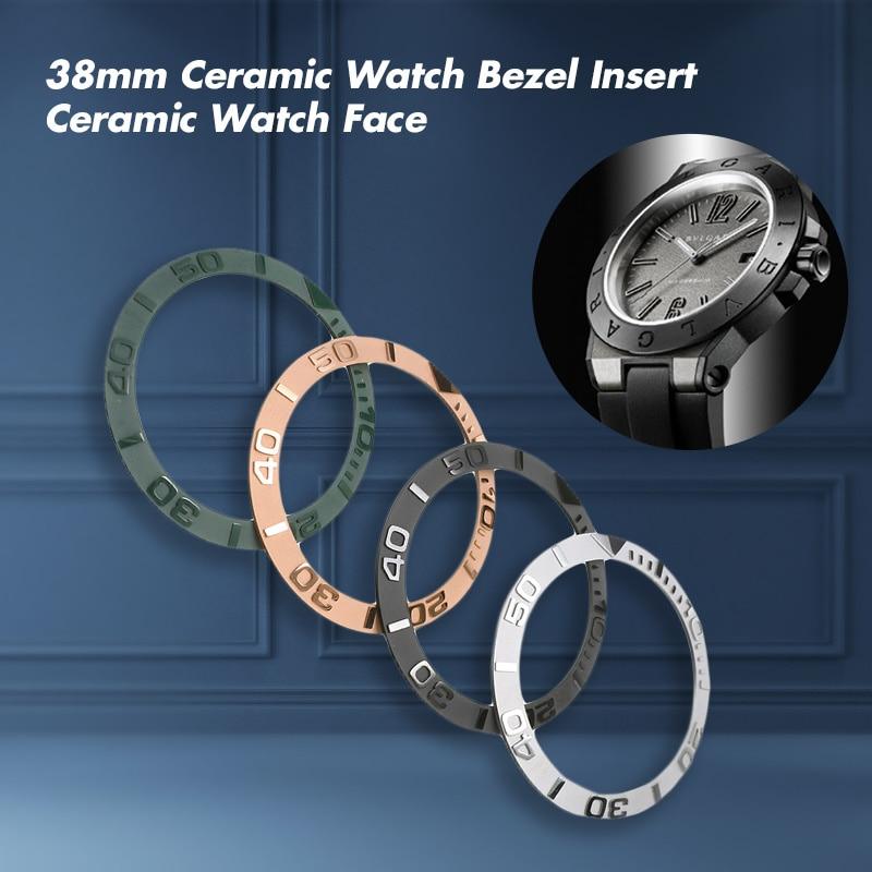 38mm Ceramic Watch Bezel Insert For 40mm Mens Watch Face Watches Replace Accessories Inner Diameter 30.7mm Round Scale Bezel 38mm black green ceramic luminous watch ring insert rlx sub 40mm submarine 116610lvn bezel noob ar vr clean zz factory case
