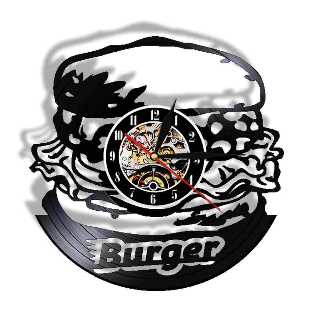 Decoración de Pared para el hogar, Reloj de hamburguesa con disco de...