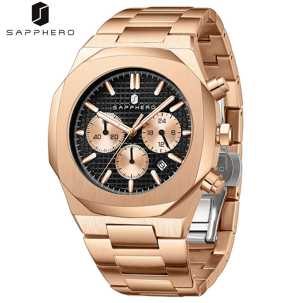 SAPPHERO 2021 New Mens Watches Stainless Steel Waterproof Chronograph Quartz Movement  Luxury Casual