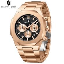SAPPHERO 2021 New Mens Watches Stainless Steel Waterproof Chronograph Quartz Movement  Luxury Casual