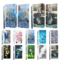 painted flip leather case for motorola moto g30 g10 g20 g50 wallet phone cover full protection cards holder stand lanyard coque