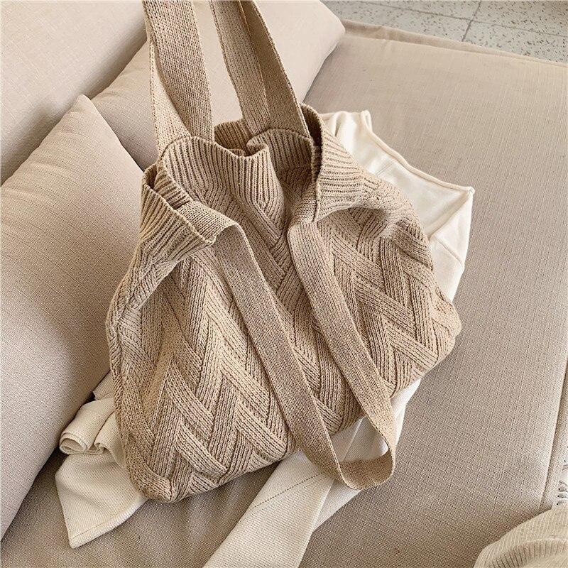 casual knitted woolen women shoulder bags designer plush handbags harajuku crossbody bag lady large capacity purses 2020 winter