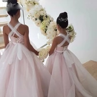 gorgeous pale pink dots tulle multi way long flower girl dress girls pageant new year party dresses