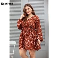 cashiona plus size women short mini dress v neck orange floral print sundress 2021 summer boho party vestido femme retro dresses