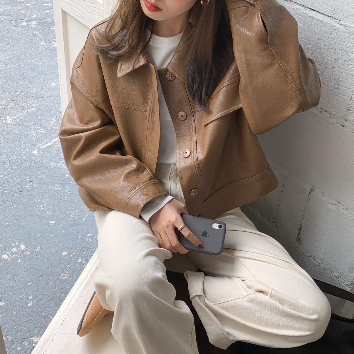 women PU leather coat 56901#