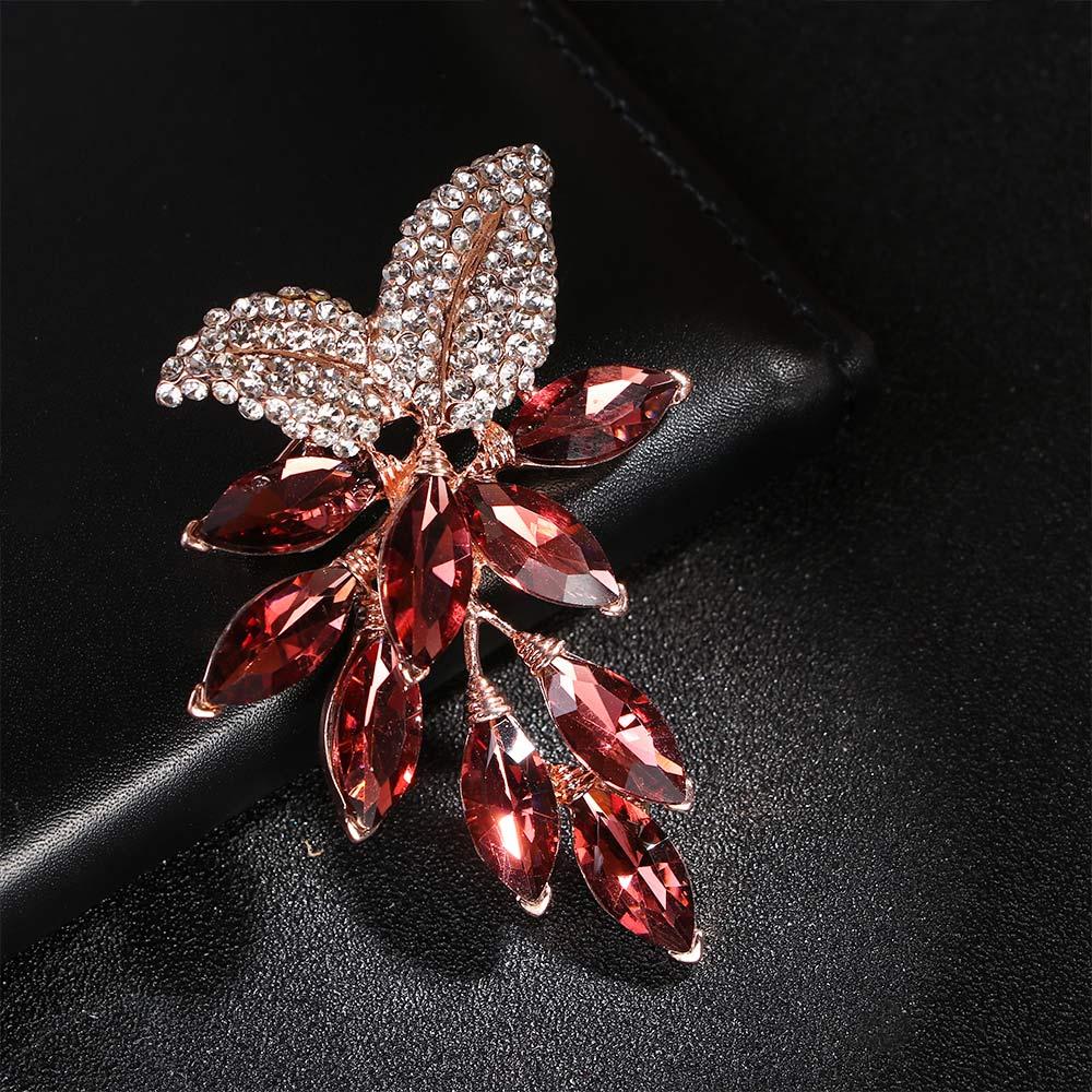 1 Uds flor cristalina grande broche grande Pines de uvas y broches joyería de la boda bisutería vestido con ramillete accesorios abrigo