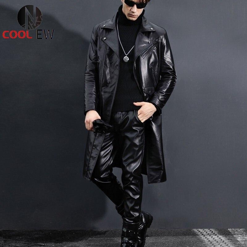 جلد طبيعي خندق معطف الرجال بدلة سوداء ضيقة من الخصر دراجة نارية سترة الشتاء سترة واقية جديدة جلد البقر طويل جاكيتات حجم كبير 5XL