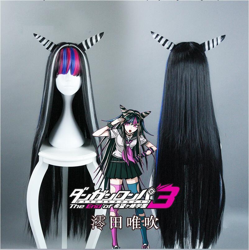 Best giftAnime Danganronpa Dangan Ronpa Mioda Ibuki Cosplay Wigs 100cm Long Heat Resistant Synthetic Hair Cosplay Wig + Wig Cap
