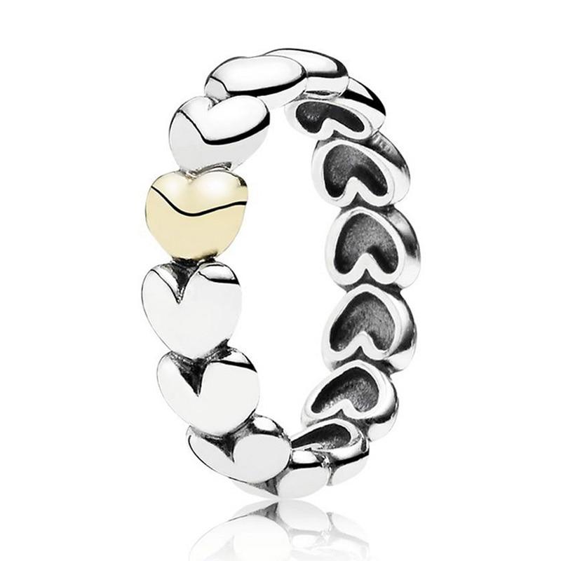 Auténtico anillo de Plata de Ley 925 Vintage oro mi único verdadero anillos de corazón de amor para mujeres regalo de fiesta de boda joyería fina Europa