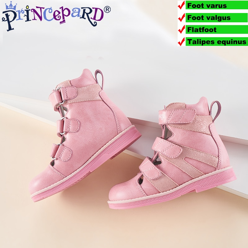 Princepard 2019 new summer autumn orthopedic shoes for kids pink gray sandals genuine leather enlarge