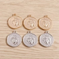 10pcs 2219mm trendy alloy gold color coins carved portrait charms for pendants necklaces diy makings jewelry findings