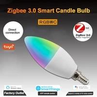 Zigbee     ampoule de bougie intelligente LED  3 0  RGBWC  telecommande vocale avec Alexa et Google Home  pour maison intelligente  5W